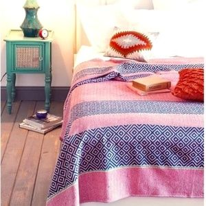 Urban Outfitters Overblock Print Cotton Blanket